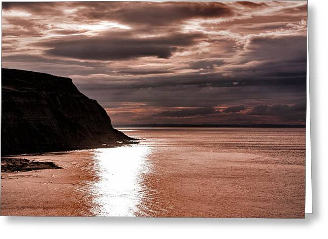North Sea Greeting Cards - North Sea Sunset Greeting Card by Trevor Kersley