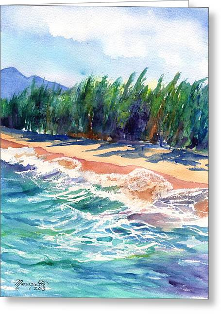 North Shore Paintings Greeting Cards - North Shore Beach 2 Greeting Card by Marionette Taboniar