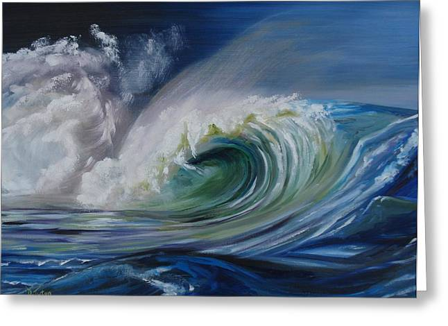 Blue Green Wave Greeting Cards - North Shore Curl Greeting Card by Donna Tuten