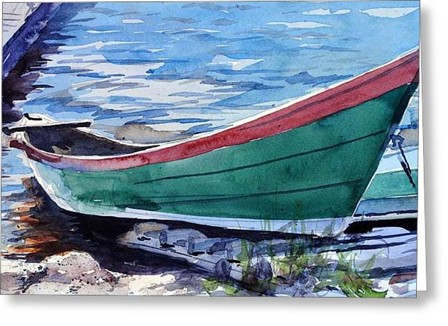 North Shore Fishing Skiff Greeting Card by Spencer Meagher