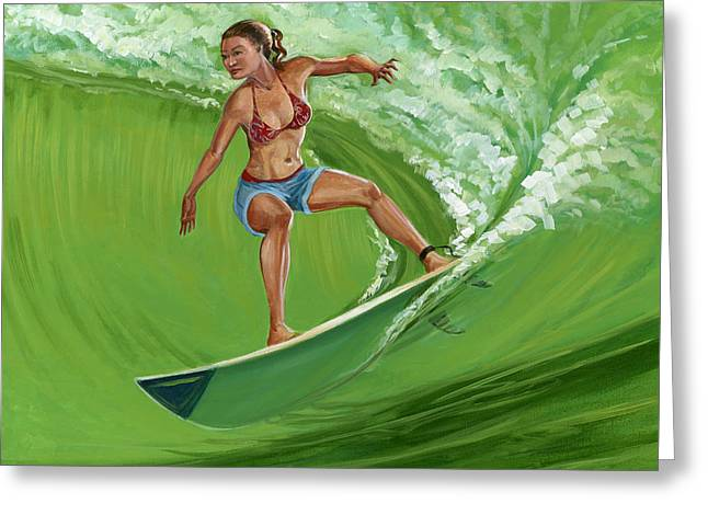 North Shore Paintings Greeting Cards - North Shore girl Greeting Card by MJ Greene