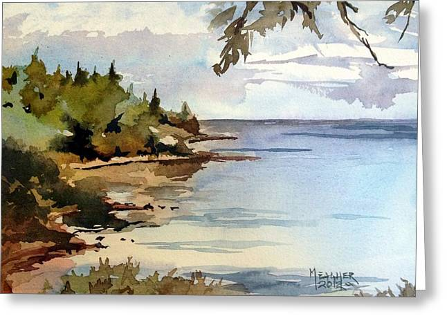 North Shore Paintings Greeting Cards - North Shore Lake Superior Greeting Card by Spencer Meagher