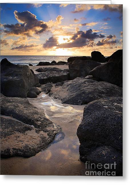 Glistening Water Greeting Cards - North Shore Sunset Greeting Card by Inge Johnsson