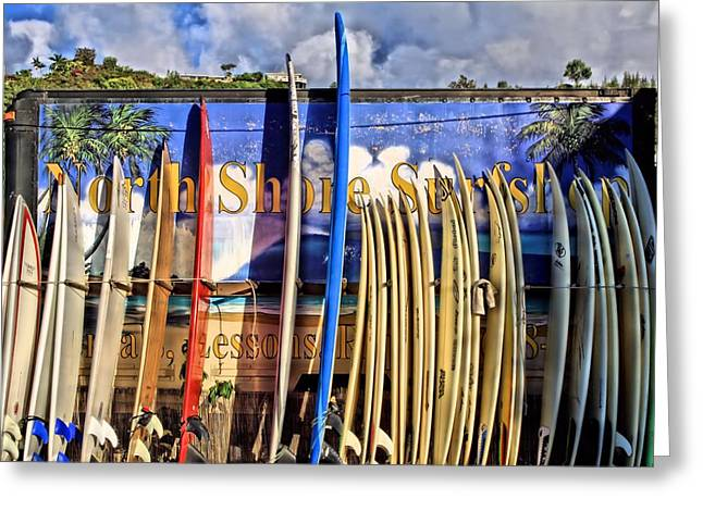 Surfin Greeting Cards - North Shore Surf Shop Greeting Card by DJ Florek