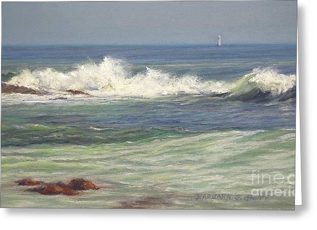 Blue Green Water Pastels Greeting Cards - North Shore Waves Greeting Card by Barbara Groff