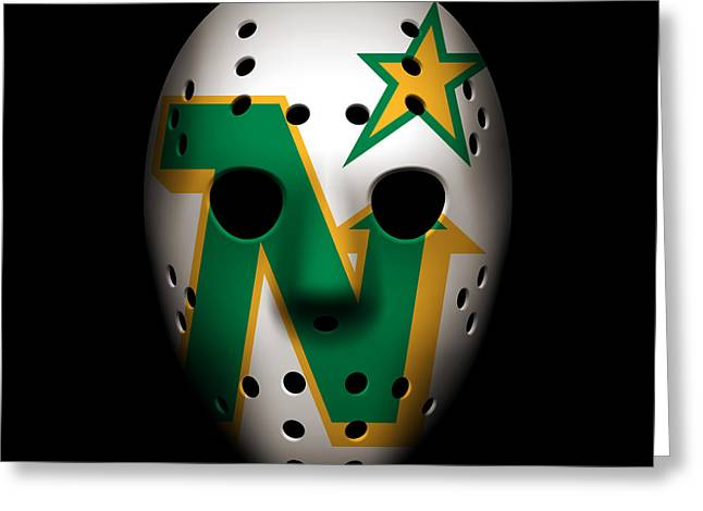 Goalie Greeting Cards - North Stars Goalie Mask Greeting Card by Joe Hamilton