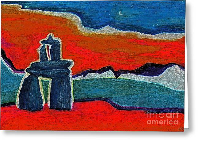 First Star Art Pastels Greeting Cards - North Story Inukshuk by jrr Greeting Card by First Star Art