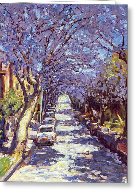Patch Paintings Greeting Cards - North Sydney Jacaranda Greeting Card by Ted Blackall
