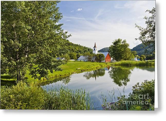 New England Village Greeting Cards - North Tunbridge Summer Greeting Card by Alan L Graham