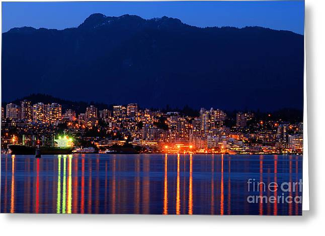 North Vancouver Greeting Cards - North Vancouver At Dusk Greeting Card by Terry Elniski