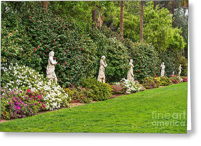 Greek Sculpture Greeting Cards - North Vista - Spring flower blooms at the North Vista Lawn of the Huntington Library. Greeting Card by Jamie Pham