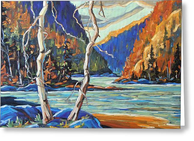 Fire In The Wood Greeting Cards - North West Lake by Prankearts Greeting Card by Richard T Pranke