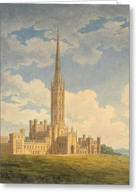 Spires Greeting Cards - North-west View Of Fonthill Abbey Greeting Card by Charles Wild