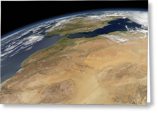 Northern Africa Greeting Cards - North-western Africa, satellite image Greeting Card by Science Photo Library