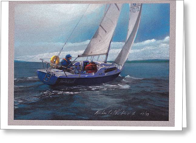 Sailing Pastels Greeting Cards - North Wind Greeting Card by Michael  Weber