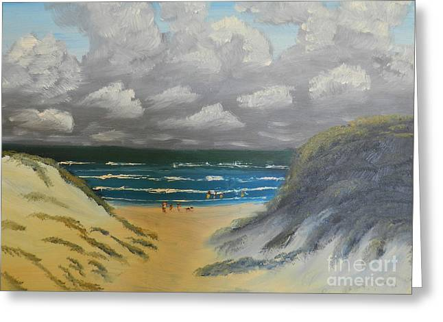 Sand Dunes Paintings Greeting Cards - North Windang Beach Greeting Card by Pamela  Meredith