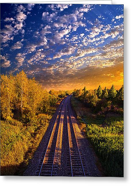 Train Tracks Greeting Cards - Northbound Greeting Card by Phil Koch