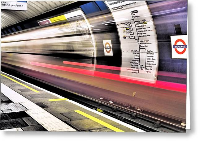 Interior Design Photographs Greeting Cards - Northbound Underground Greeting Card by Rona Black