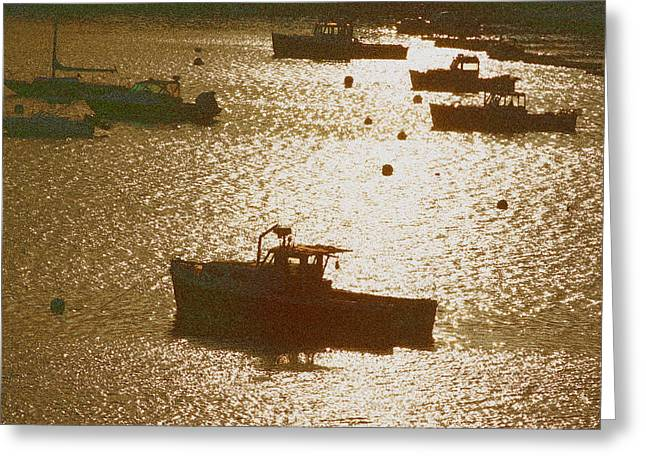 Fishing Boats Greeting Cards - Northeast Harbor Greeting Card by Ross Lewis