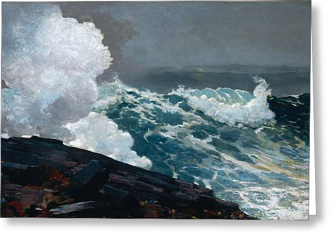 Winslow Homer Greeting Cards - Northeaster 1895 Greeting Card by Winslow Homer