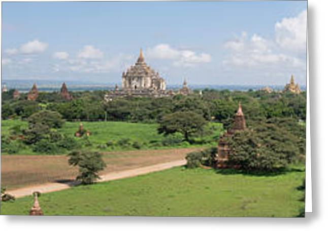 Buddhist Region Greeting Cards - Northern And Eastern View Of Stupas Greeting Card by Panoramic Images