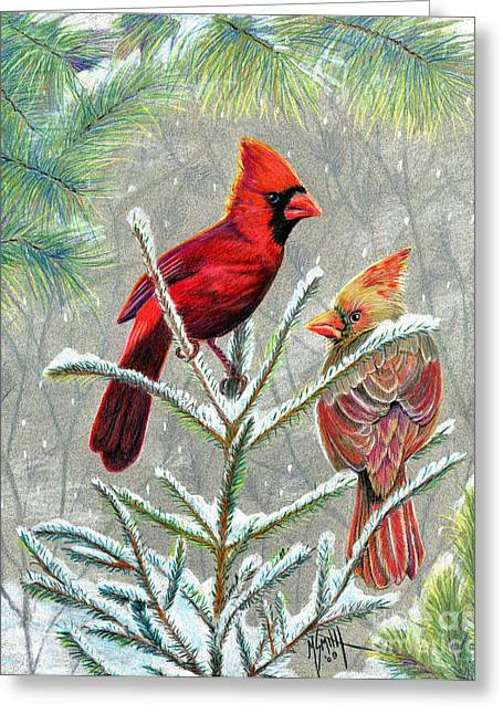 Pine Needles Drawings Greeting Cards - Northern Cardinals Greeting Card by Marilyn Smith