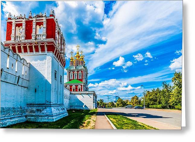 Medieval Temple Greeting Cards - Northern entrance to Novodevichy convent Greeting Card by Alexander Senin