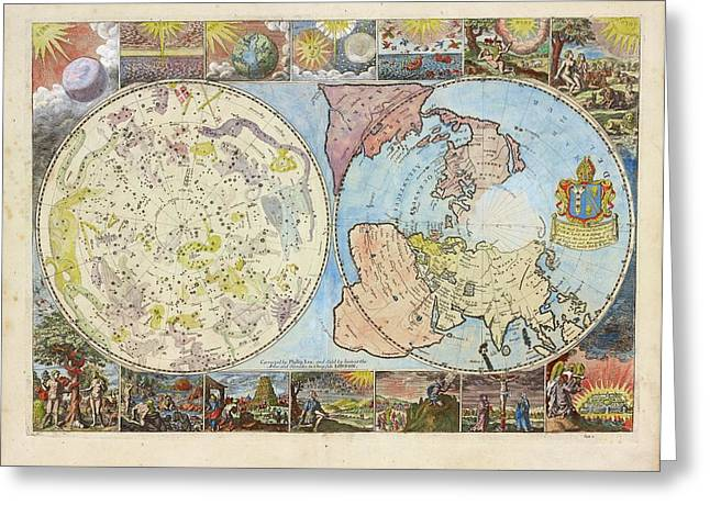 Northern Hemisphere Map Greeting Card by Lionel Pincus And Princess Firyal Map Division/new York Public Library