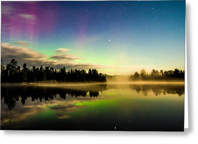 Boundary Waters Greeting Cards - Northern Lights in the BWCA Greeting Card by Christopher Broste