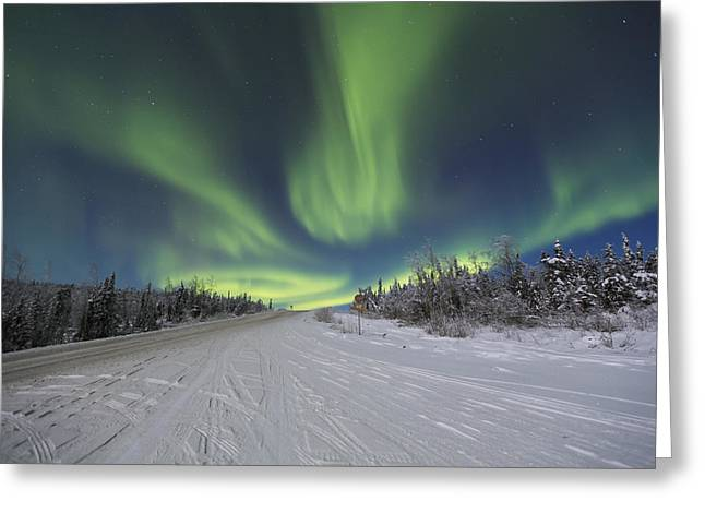 Northern Lights Dancing Over The James Greeting Card by Lucas Payne