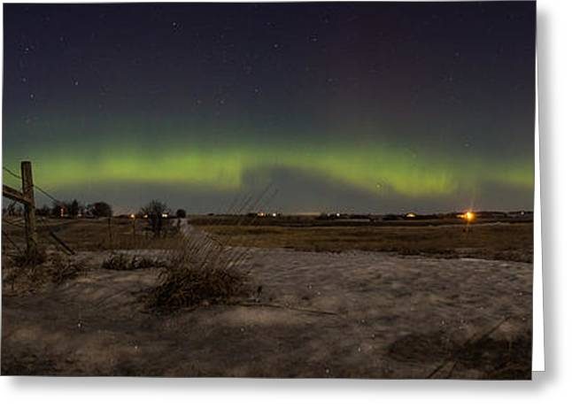 Winter Storm Greeting Cards - Northern Lights from South Dakota Greeting Card by Aaron J Groen