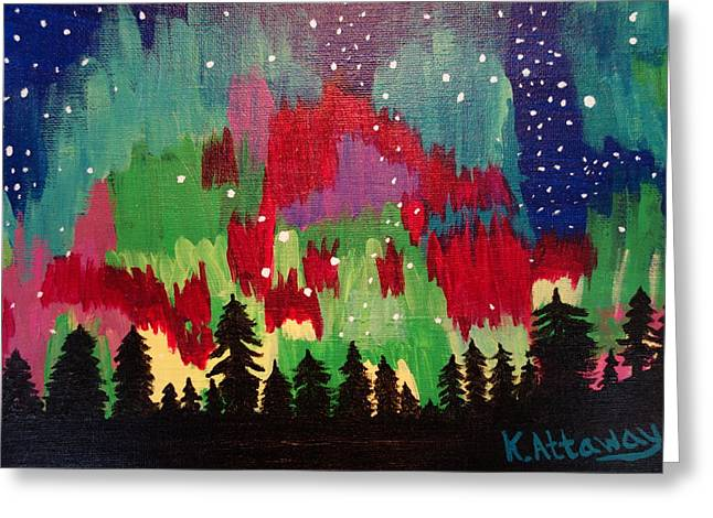 Little Dipper Greeting Cards - Northern Lights Greeting Card by Karen Attaway