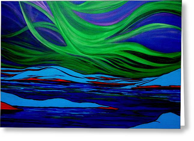 Kpl Greeting Cards - Northern Lights Greeting Card by Kathy Peltomaa Lewis