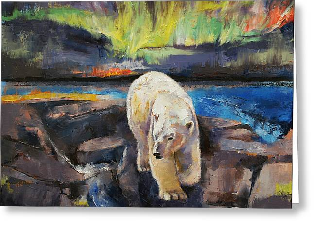 Arctic Greeting Cards - Northern Lights Greeting Card by Michael Creese