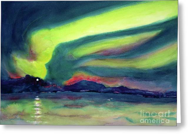 Summer Storm Paintings Greeting Cards - Northern Lights on Superior Shores Greeting Card by Kathy Braud
