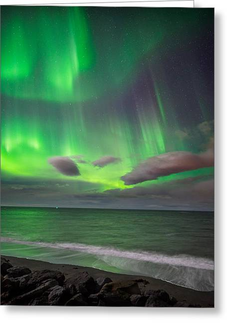 Color Green Greeting Cards - Northern Lights Over The Waves Greeting Card by Panoramic Images