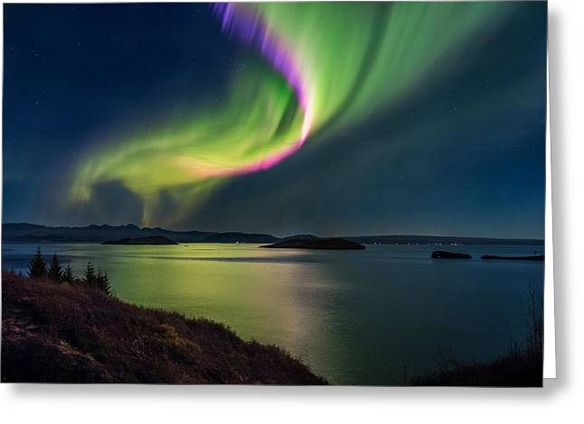 Winter Travel Greeting Cards - Northern Lights Over Thingvallavatn Or Greeting Card by Panoramic Images