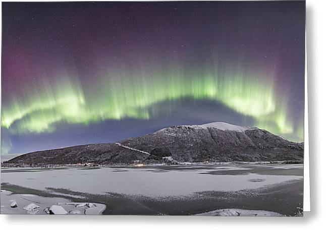 Norway Beach Greeting Cards - Northern Lights Panoramic Greeting Card by Frank Olsen