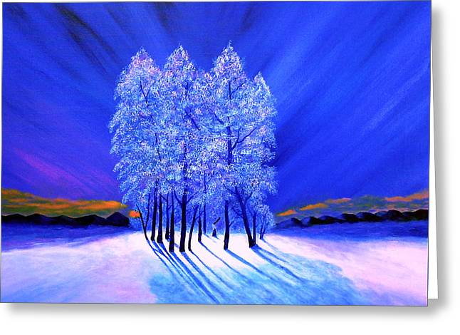 Festive Greeting Cards - Northern Lights Moody Spruce Tree Shadows Greeting Card by Reggie Hart