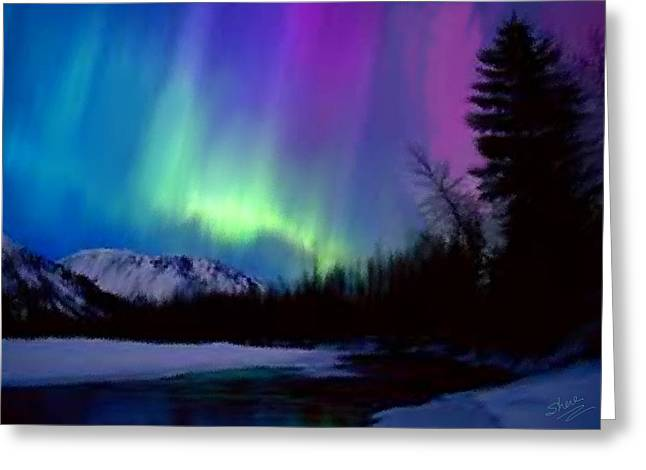 Sky Fire Greeting Cards - Northern Lights Greeting Card by Shere Crossman