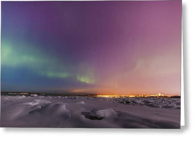 Tony Knowles Coastal Trail Greeting Cards - Northern Lights Shine Above City Greeting Card by Kevin Smith