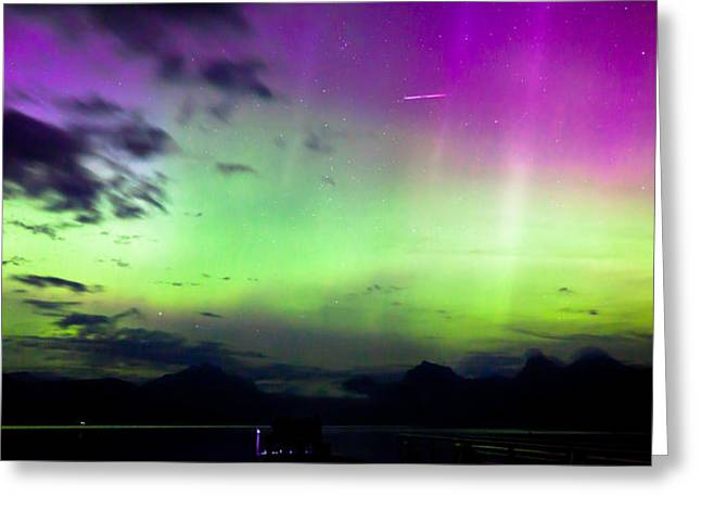 Apgar Greeting Cards - Northern Lights with Meteor Greeting Card by John Harwood