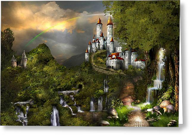 Kinkade Mixed Media Greeting Cards - NORTHERN OZ....castle 12 Greeting Card by Vjkelly Artwork