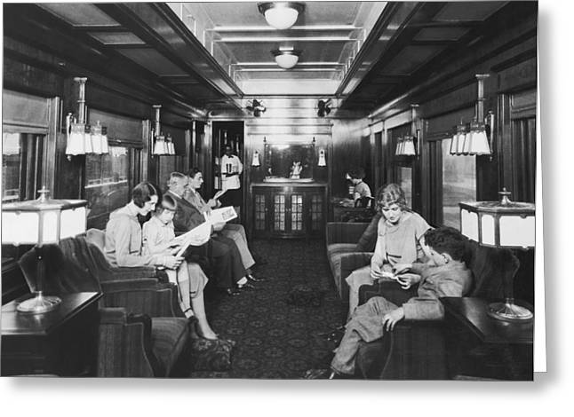 Family With One Child Greeting Cards - Northern Pacific Lounge Car Greeting Card by Underwood Archives