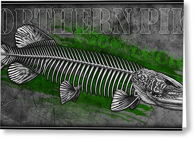 Fly Fishing Drawings Greeting Cards - Northern Pike Skeleton Greeting Card by Nick Laferriere