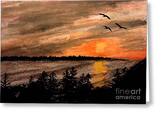 Evening Scenes Pastels Greeting Cards - Northern Shore  Greeting Card by R Kyllo