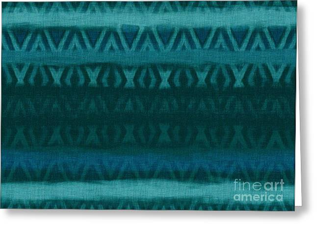 Primitive Tapestries - Textiles Greeting Cards - Northern Teal Weave Greeting Card by CR Leyland