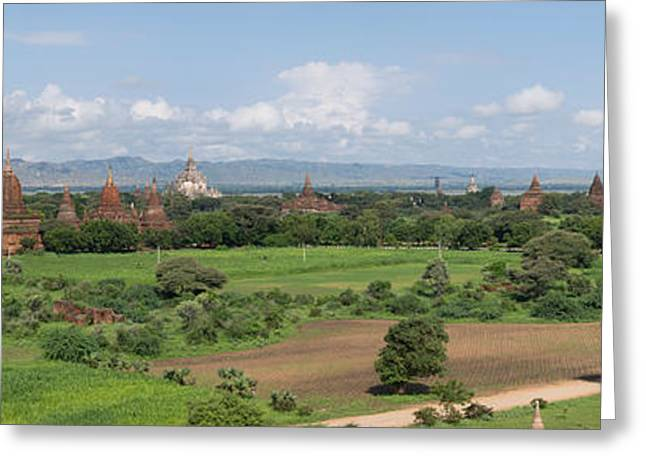Buddhist Region Greeting Cards - Northern View Of Stupas And Temples Greeting Card by Panoramic Images