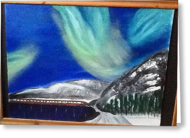Northernlights Greeting Cards - Northernlights express Greeting Card by Audrey Pollitt