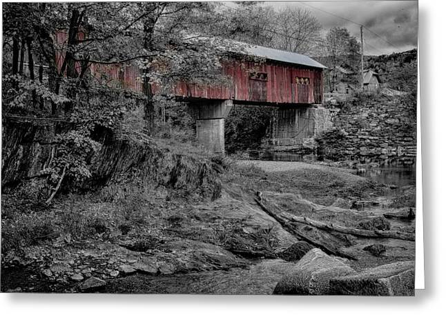 """autumn Foliage New England"" Greeting Cards - Northfield Falls bridge Greeting Card by Jeff Folger"